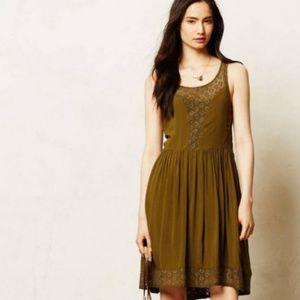 Anthropologie Lilka Olive Green Matepe Lace Dress